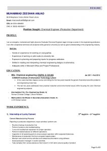 chemical engineer resume resume chemical engineer