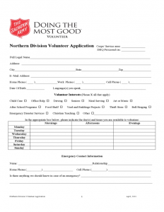 child care receipt salvation army volunteer application form sample l