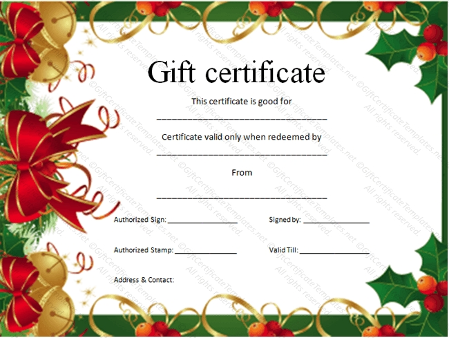 Captivating Christmas Gift Certificate