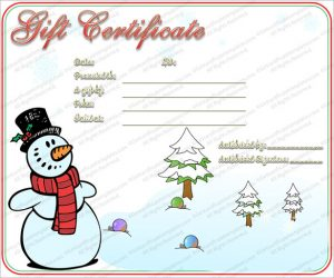 christmas gift certificate templates snowman christmas gift certificate template