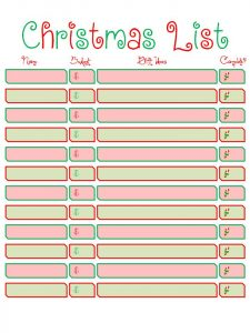 christmas list printable christmas list printable