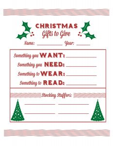 christmas list printable christmas list single sheet