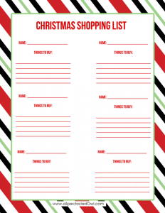 christmas list printable christmas stripes shopping list aspectacledowl