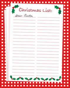 christmas list printable christmaslist