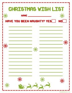 christmas list printable printable christmas wish list
