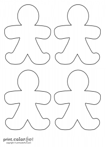 christmas tree printables four gingerbreads
