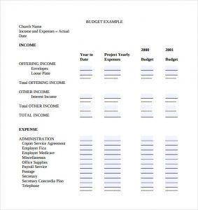 church budget template sample church budget template