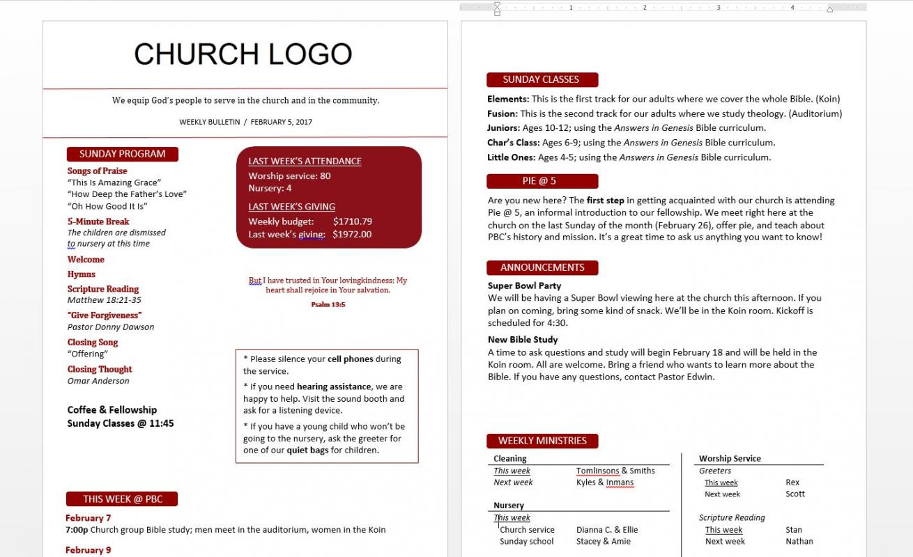Church bulletin templates template business for Sample church bulletins templates