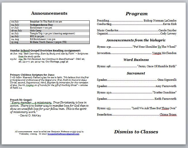 Church bulletin templates template business for Email bulletin template