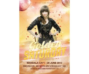 church flyer background golden saturday disco party flyer psd