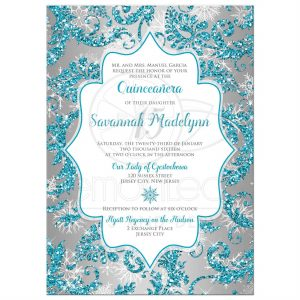 cinderella birthday invitations rectangle sweetsilvericeaquadamaskglitter