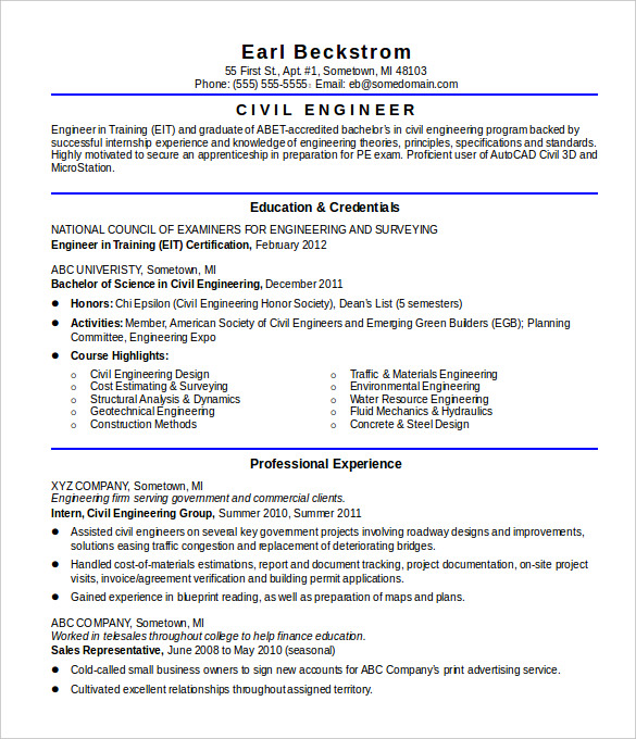 Civil Engineer Resume Template Business
