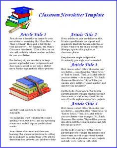 class newsletter template classroom newsletter template