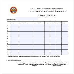 class roster template careplus class roster template