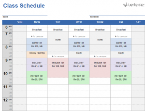 class schedule template college class schedule template
