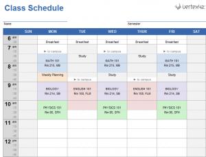 class schedule templates college class schedule template