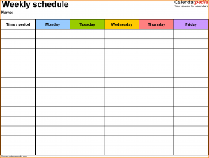 class schedule templates weekly class schedule template schedule