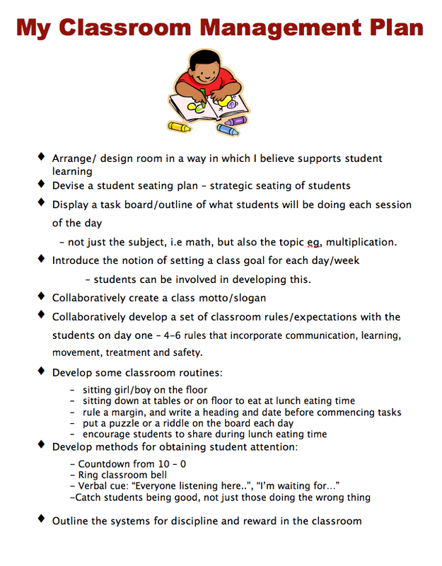 classroom management plan essay Classroom management plan for day one of class (for grades 7-12) classroom procedures entering the classroom students will come into the classroom quietly and in an orderly fashion without running.