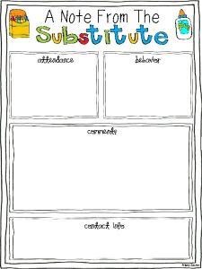 classroom management plan template a note from the substitute printables template