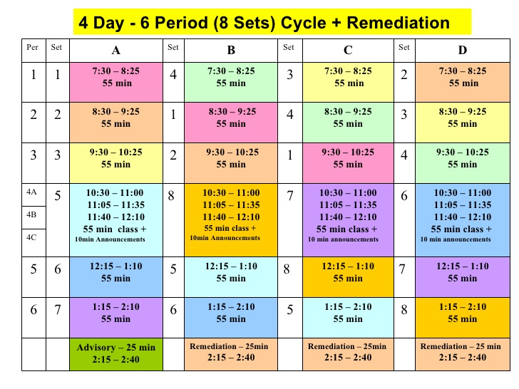 block schedule templates