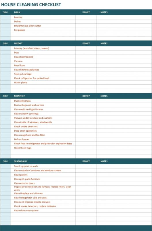cleaning checklist template
