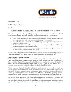 cleaning contract template mc carthy proposal