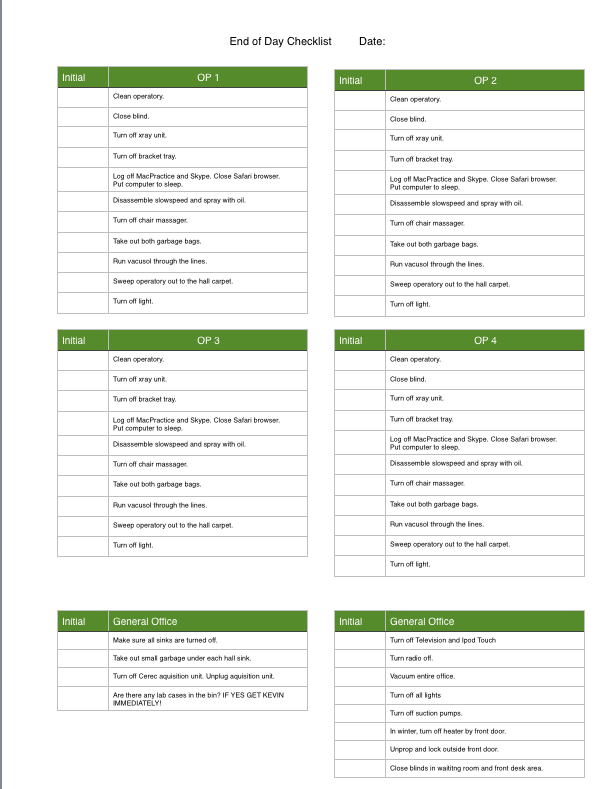 cleaning list template