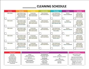 cleaning schedule template monthly cleaning schedule blank