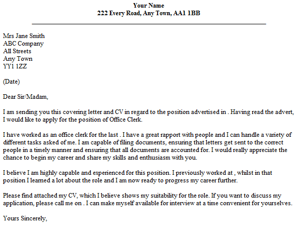 Clerical Cover Letter  Cover Letter For Office Clerk