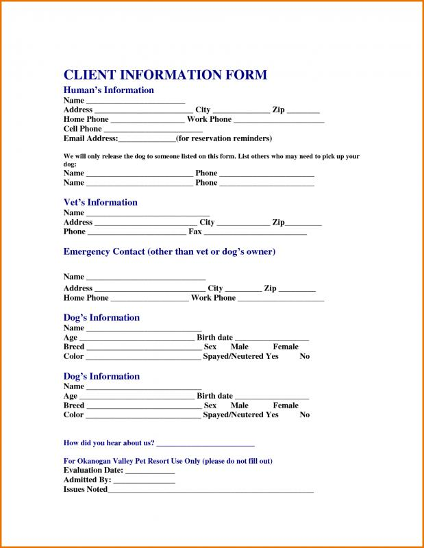 client information sheet