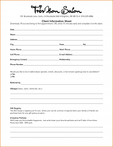 client information sheet client information sheet template