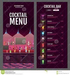 cocktail menu design flat style cocktail menu design bar interior illustration