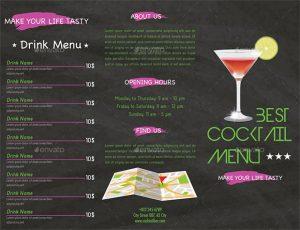 cocktail menu design trifold cocktail menu template