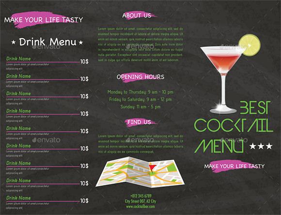 Cocktail Menu Design  Cocktail Menu Template Free Download