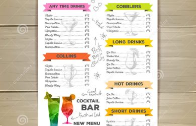 cocktail menu design vintage cocktail menu design document template