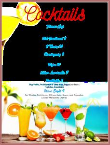 cocktail menu template cocktail menu template x