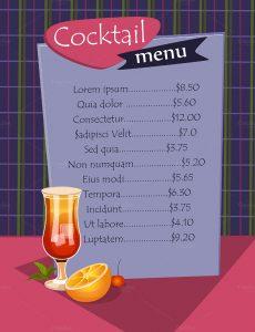 cocktail menu template cocktail menu template download