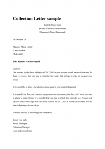 collection letter sample dunning collection letter sample template example format