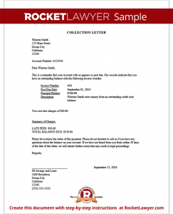 collection letter sample sample collection letter template