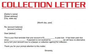collection letter template collection letter