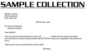 collection letter template collection sample