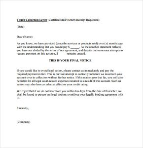 collection letter template free collection letter template