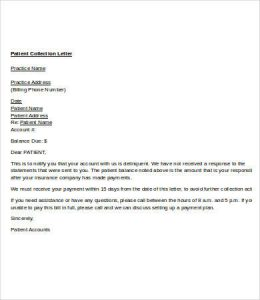 collection letter template patient collection letter template