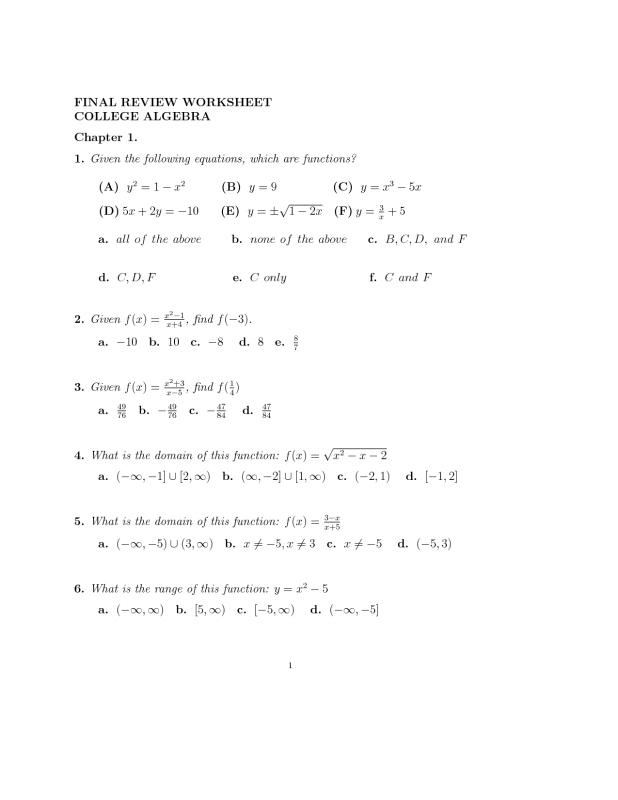 college algebra worksheets