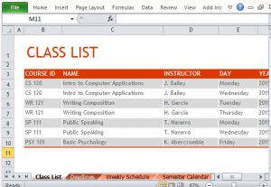college class schedule template list your classes for a particular semester and plan ahead