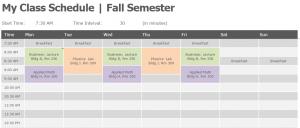 college class schedule template semester class schedule