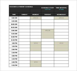 college class schedule template standard school schedule template in excel format