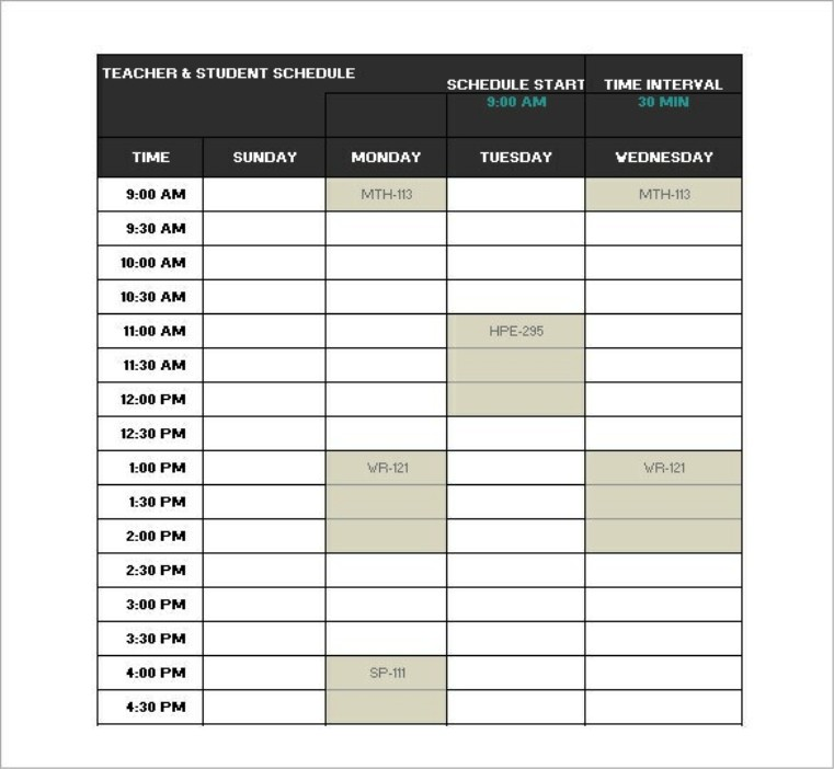 College Class Schedule Template  Template Business