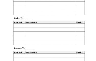 college class schedule template student academic planner semesterbased worksheet