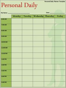 college class schedule template template personal calendar daily schedule planner template free